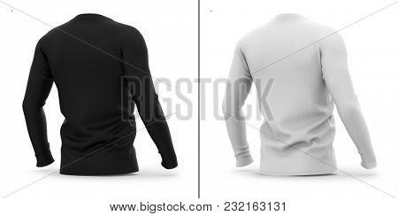Men's v neck t shirt with long sleeves. Half-back view. 3d rendering. Clipping paths included: whole object, sleeve, collar. Highlights and shadows template mock-up.
