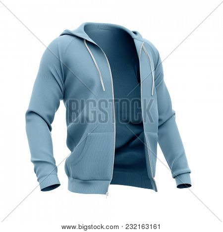 Men's hoodie with open zipper. Half-front view. 3d rendering. Clipping paths included: whole object, hood, sleeve. Isolated on white background.