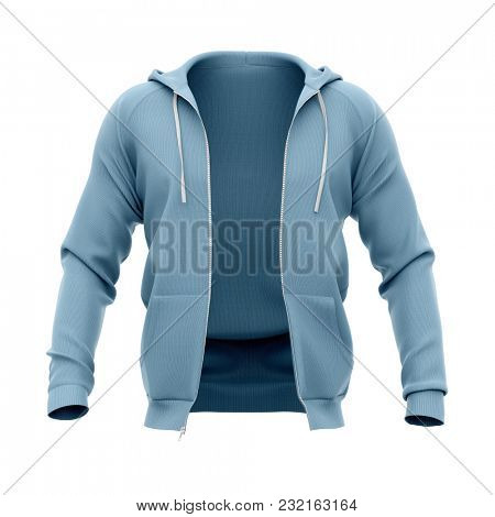 Men's hoodie with open zipper. Front view. 3d rendering. Clipping paths included: whole object, hood, sleeve. Isolated on white background.