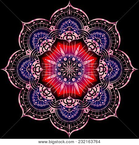 Colorful Flower Mandala. Vintage Decorative Elements. Oriental Pattern, Vector Illustration. Islam,