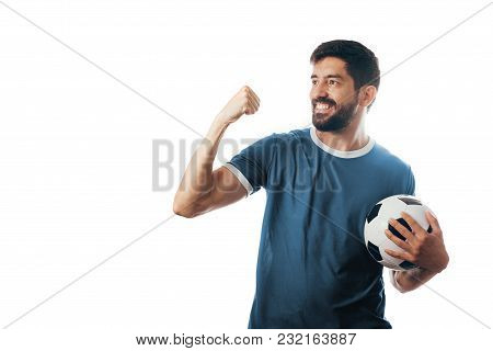 Fan or sport player on blue uniform celebrating on white background
