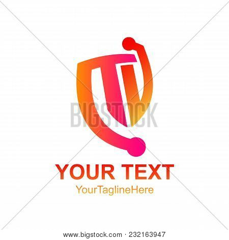 Initial Letter Tv Logo Template Colorfull Shield Design For Business And Company Identity