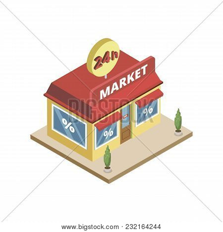 Isometric View Of 24h Working Town Market Building On White Background.