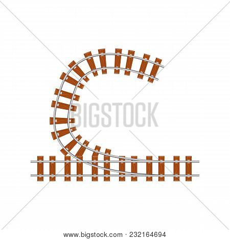 From Above Railway Switch Point From Above On White Background.