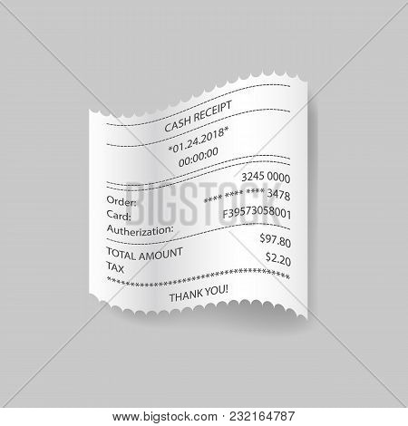 Check Paper With Card Transaction And Amount On Gray Background.