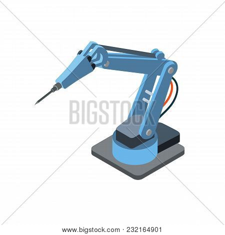 Isometric Robotic Arm For Machinery Manufacturing Isolated On White.