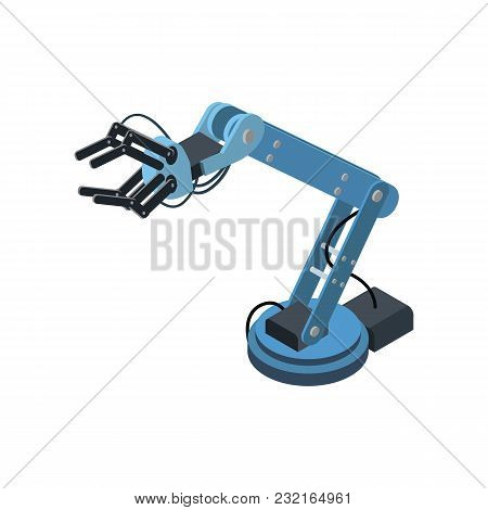 Blue Mechanism Of Engineering Arm In Isometry Isolated On White.
