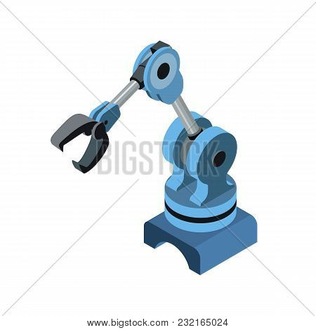 Isometric Robotic Blue Arm For Engineering Machines Isolated On White.