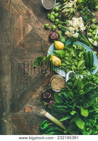 Spring Healthy Vegan Food Cooking Ingredients. Flat-lay Of Vegetables, Fruit, Seeds, Sprouts, Flower