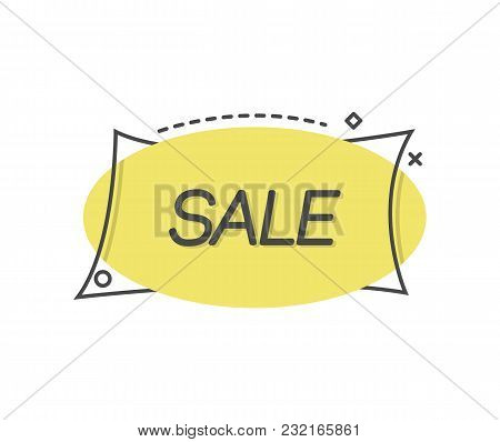 Flat Design Of Blue Label In Black Frame Saying Sale.