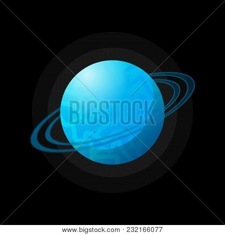 Vector Flat Design Of Blue Planet Surrounded With Blue Rings In Space.