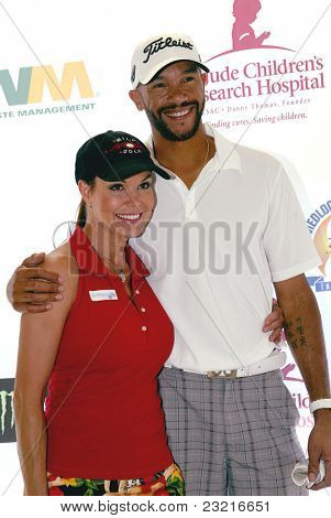 MOORPARK, CA - AUG. 29: Paula Trickey & Stephen Bishop arrive at the 4th annual Scott Medlock-Robby Krieger Concert & Golf Classic on Aug. 29, 2011 at  Moorpark Country Club in Moorpark, California.