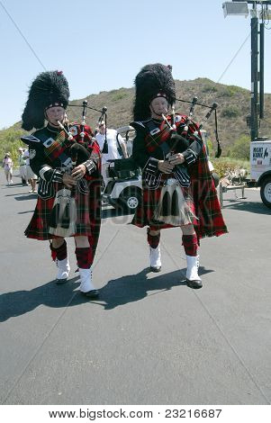 MOORPARK, CA - AUG. 29: Scottish bagpipers signal the start of the 4th annual Scott Medlock-Robby Krieger Concert & Golf Classic on Aug. 29, 2011 at the Moorpark Country Club in Moorpark, California.