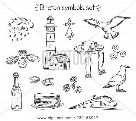 Vector Coloring Book With Traditional Breton Elements