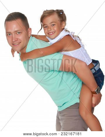 The Daughter Rides On Papa's Shoulders.