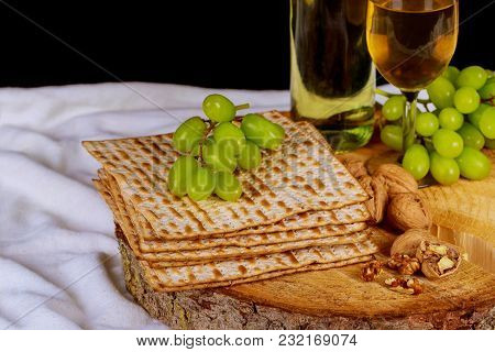 Passover Background With Wine Bottle, Matzoh, Top View Of Passover Background
