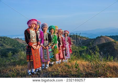 Tak, Thailand - November 11, 2011: Group Of Beautiful Hill Tribe Girls With Their Colorful Dresses S