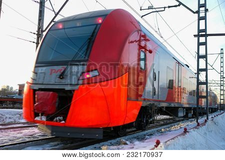 Moscow, Russia - March, 10, 2018: train on the train line named
