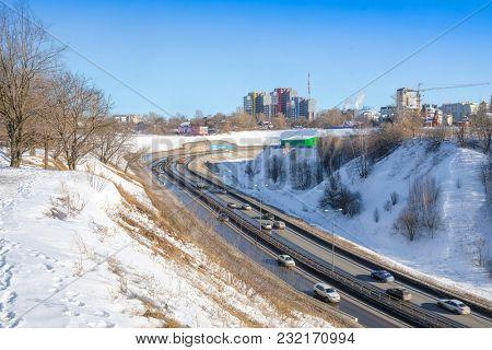 Nizhny Novgorod, Russia - March, 10, 2018: landscape with the image of road on Volga embankment in Nizhny Novgorod in winter