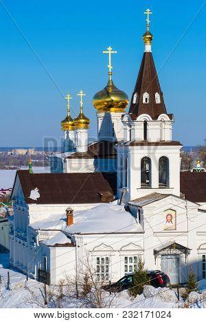 Nizhny Novgorod, Russia - March, 10, 2018: church in the center of Nizhny Novgorod in winter