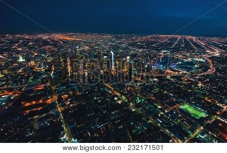 Aerial View Of Downtown Los Angeles At Twilight