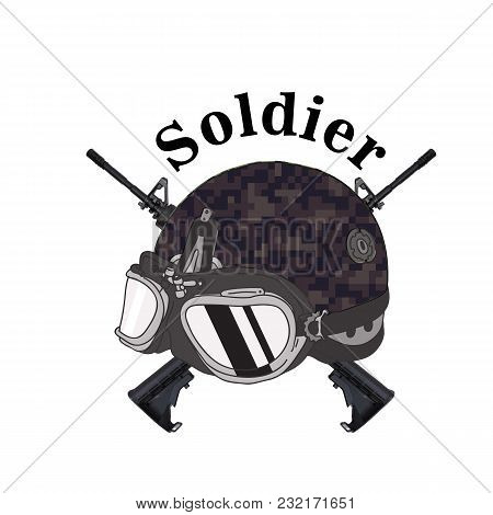 Soldier Text Soldier Helmet Gun Background Vector Image