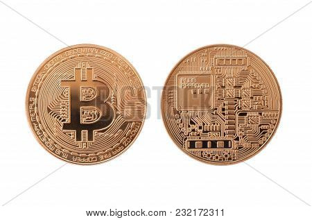 Bitcoin Currency Of Copper Medal Isolated On White Background And Have Clipping Paths To Ease Of Use