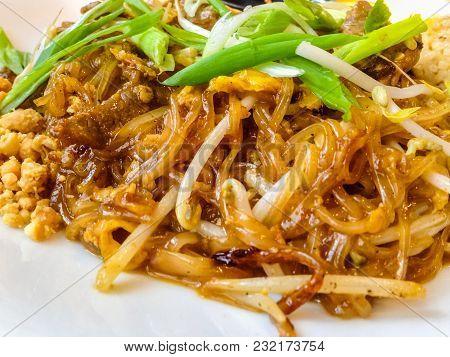 Close Up Shot Of Delicious Beef Pad Thai On A Plate. Amazing Mouth Watering Picture For Your Menu.