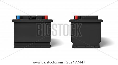 3d Rendering Of Two Black Car Batteries With Colorful Terminals In Front And A Side View. Energy Sou