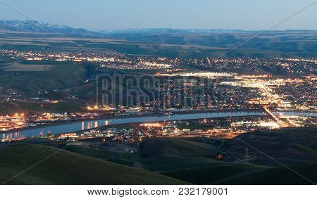 Dusk Comes To Lewiston Downtown And Reflects Its Light In The Clearwater And Snake Rivers Idaho Nort