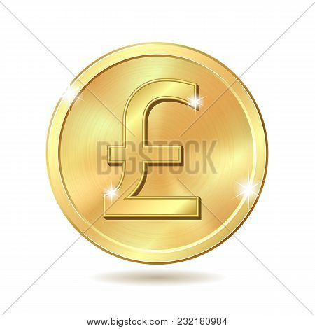 Gold Coin With Pound Sterling Sign. Vector Illustration Isolated On White Background