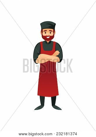 Cheerful Cook In Apron Standing With Arms Crossed On White Background.