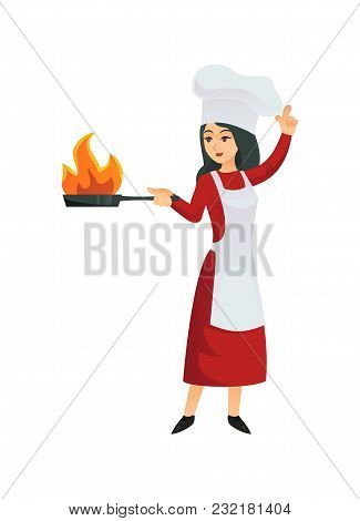 Woman Chef In Apron Standing With Frying Pan And Doing Flambe Isolated On White.
