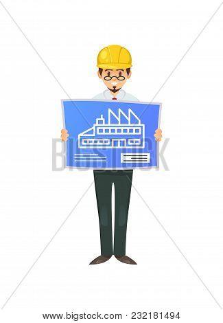 Vector Of Smart Builder In Hardhat Showing Blueprint With Building Plan.