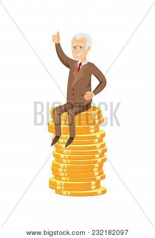 Flat Vector Of Elderly Businessman Sitting On Pile Of Golden Coins Showing Thumb Up.
