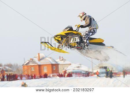 Tyumen, Russia - December 26. 2009: Sport Snowmobile Racing On Championship Of Ural Region. Sportsma