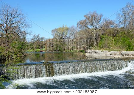 Brushy Creek At Chisholm Trail Park In Round Rock, Texas. The Park Commemorates The Spirit Of The Ch