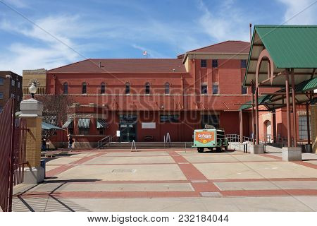 Waco, Texas - March 19, 2018: Dr Pepper Museum And Free Enterprise Institute. Museum Entrance And Fr