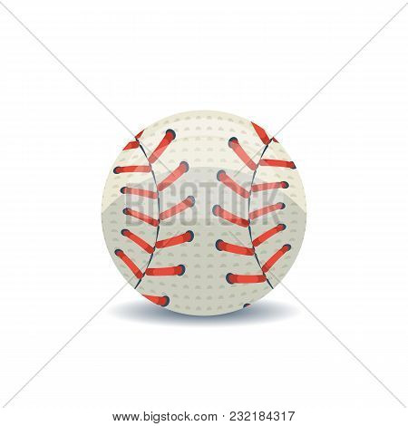 White Leather Base Ball With Red Straw On White Background.
