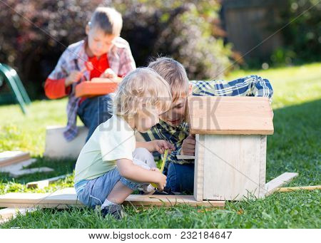Children Brothers Making Wooden Birdhouse Together On Lawn In Summertime
