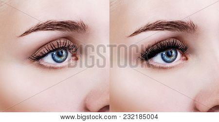 Female Eye Before And After Eyelash Extension. Close-up Shot.