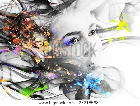 Double Exposure Portrait Of Woman And Smoke With Colorful Blots. Over White Background.