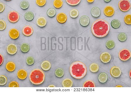 Top View Flat Lay Frame Sliced Citrus Fruit Summer Background