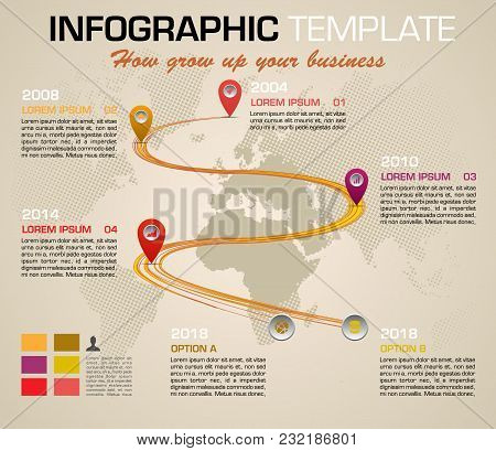 Modern Colorful Infographics Options Template Vector With Timeline And Dotted World Map In Yellow Co