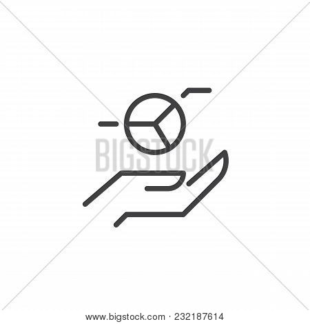 Hands With Pie Chart Outline Icon. Linear Style Sign For Mobile Concept And Web Design. Analytics Si