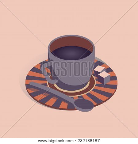Vector Illustration With 3d Coffee Cup With Pieces Of Sugar In Isometric Flat Style On Pink Backgrou