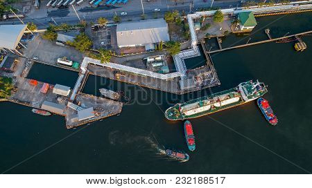 Aerial View Of Oil Tanker Ship Loading In Port, Oil And Gas Transport Ship, Industry Liquefied Natur