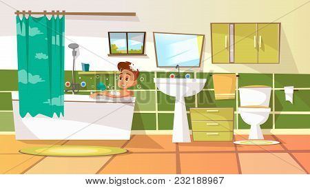 Vector Cartoon Young Man Having Bath In Bathtub. Illustration With Male Character Relaxing In Bubble