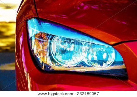 Headlights Of A Sports Red Car, Eyes Of A Red Car