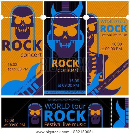 Rock Music Live Festival Tickets Vector Illustration Templates. Entry Admission Ticket Design For Ro